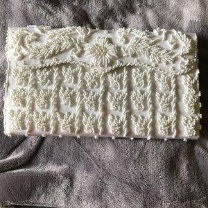 EUC-White beaded clutch with inside pocket